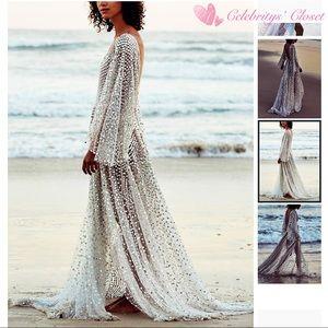 BN Silver Shimmer Mesh Maxi Dress Long Gown Sz S